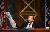 "United States Senator John Barrasso (Republican of Wyoming) holds newspaper at a hearing titled ""Oversight of the Environmental Protection Agency"" before the US Senate Environment and Public Works Committee in the Dirksen Senate Office Building on May 20, 2020 in Washington, DC.  EPA Administrator Andrew Wheeler will be asked about the rollback of regulations by the Environment Protection Agency since the pandemic started in March.  <br /> Credit: Kevin Dietsch / Pool via CNP/AdMedia"