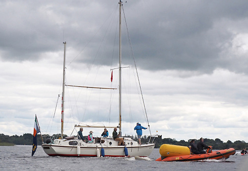 Lough Ree Yacht Club's Committee Boat heads out on the lake to start racing in its 2020 Double Ree Regatta