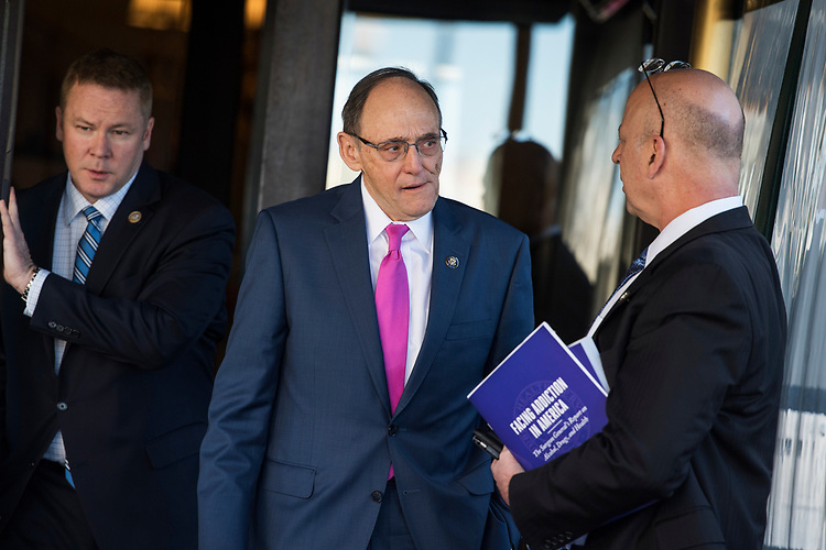UNITED STATES - MARCH 8: Rep. Phil Roe, R-Tenn. center, talks with Rep. Scott DesJarlais, R-Tenn., after a meeting of the House Republican Conference at the Capitol Hill Club, March 8, 2017. (Photo By Tom Williams/CQ Roll Call)