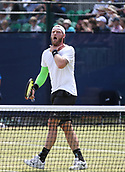 June 16th 2017, Nottingham, England; ATP Aegon Nottingham Open Tennis Tournament day 5;  Sam Groth of Australia suggesting to his coach that he choked on a shot as he defeats John-Patrick Smith of Australia in two sets