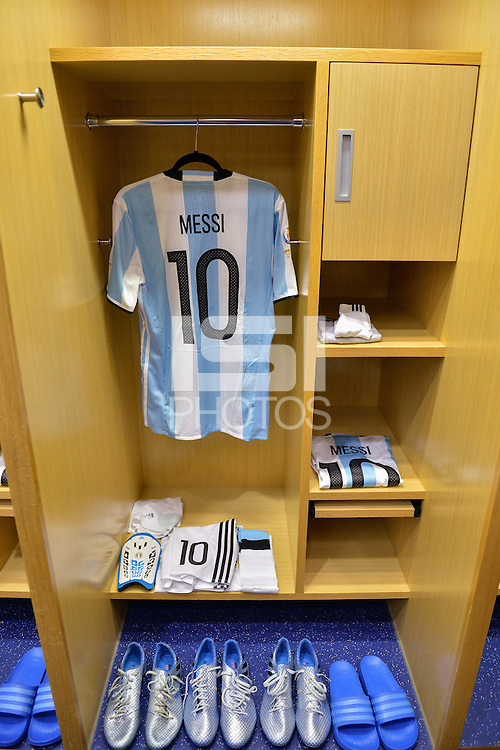 East Rutherford, NJ - Sunday June 26, 2016: Argentina locker room prior to a Copa America Centenario finals match between Argentina (ARG) and Chile (CHI) at MetLife Stadium.
