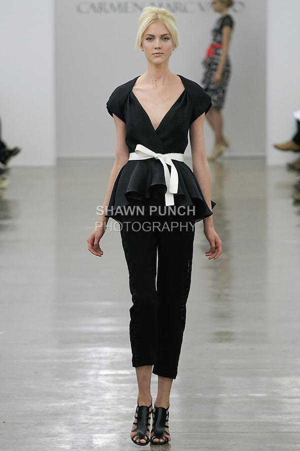 Hannah H walks runway in an outfit from the Carmen Marc Valvo Spring 2013 collection fashion show, during Mercedes-Benz Fashion Week Spring 2013.