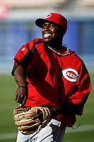 Brandon Phillips of the Cincinnati Reds during batting practice before a game against the Los Angeles Dodgers in a 2007 MLB season game at Dodger Stadium in Los Angeles, California. (Larry Goren/Four Seam Images)