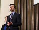 Taylor Cremeans presents his groups case at the 3rd Annual Robert L. Foehl Ethical Leadership Case Competiton.