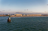 The promenade and lighthouse Calais in France. Wednesday 04 September 2019