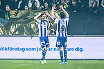 Solna 2014-03-31 Fotboll Allsvenskan AIK - IFK G&ouml;teborg :  <br /> G&ouml;teborgs Lasse Vibe har gjort 1-0 och jublar med G&ouml;teborgs Martin Smedberg-Dalence <br /> (Foto: Kenta J&ouml;nsson) Nyckelord:  AIK Gnaget Solna IFK G&ouml;teborg Bl&aring;vitt jubel gl&auml;dje lycka glad happy