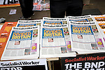 May Day march and rally at Trafalgar Square, May 1st, 2010 Socialist Worker newspapers on SWP stand
