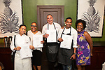 New York, NY - June 18, 2018: Chefs Tanya Holland, Brother Luck, Adrienne Cheatham, and Christopher Scott present a Juneteenth feast at the James Beard House in Greenwich Village.<br /> <br /> CREDIT: Clay Williams for The James Beard Foundation.<br /> <br /> &copy; Clay Williams / http://claywilliamsphoto.com