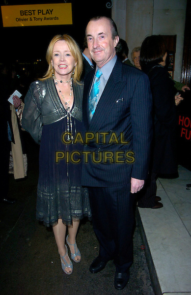 "ANGHARAD REES & GUEST.""The History Boys"" press night, Wyndham's Theatre, London, UK..January 3rd, 2007.full length blue grey gray silver dress pinstripe suit.CAP/CAN.©Can Nguyen/Capital Pictures"