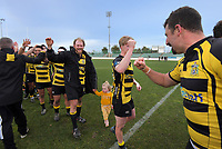 Yellows players celebrate winning winning the 2019 Manawatu premier club rugby Hankins Sheild final match between Varsity and Feilding Yellows at CET Arena in Palmerston North, New Zealand on Saturday, 13 July 2019. Photo: Dave Lintott / lintottphoto.co.nz