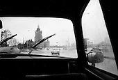 Moscow, Russia<br /> October 19, 1992<br /> <br /> Moscow taxi drive - note very little traffic.<br /> <br /> In December 1991, food shortages in central Russia had prompted food rationing in the Moscow area for the first time since World War II. Amid steady collapse, Soviet President Gorbachev and his government continued to oppose rapid market reforms like Yavlinsky's &quot;500 Days&quot; program. To break Gorbachev's opposition, Yeltsin decided to disband the USSR in accordance with the Treaty of the Union of 1922 and thereby remove Gorbachev and the Soviet government from power. The step was also enthusiastically supported by the governments of Ukraine and Belarus, which were parties of the Treaty of 1922 along with Russia.<br /> <br /> On December 21, 1991, representatives of all member republics except Georgia signed the Alma-Ata Protocol, in which they confirmed the dissolution of the Union. That same day, all former-Soviet republics agreed to join the CIS, with the exception of the three Baltic States.