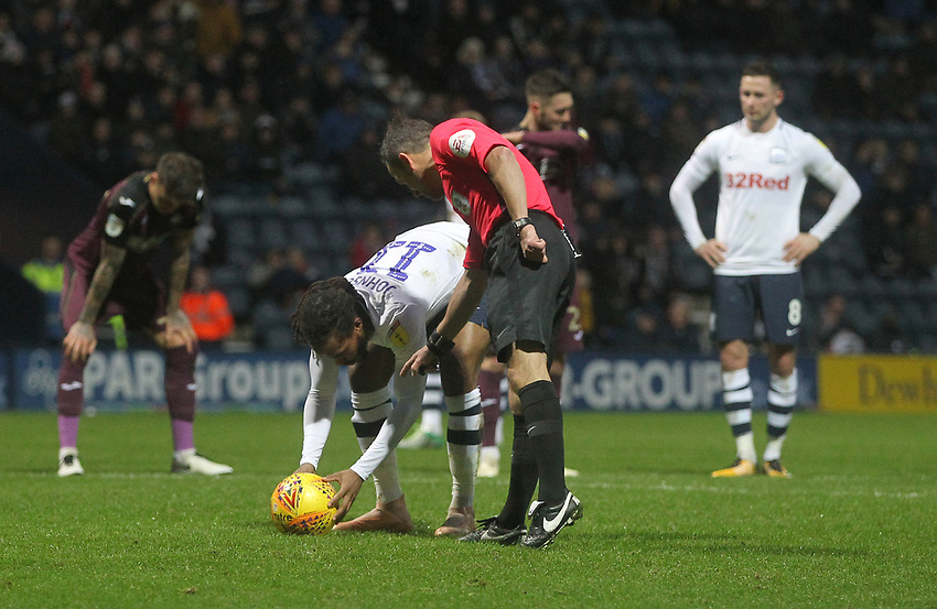 Preston North End's Daniel Johnson places the ball for the penalty as ref Keith Stroud looks on<br /> <br /> Photographer Mick Walker/CameraSport<br /> <br /> The EFL Sky Bet Championship - Preston North End v Swansea City - Saturday 12th January 2019 - Deepdale Stadium - Preston<br /> <br /> World Copyright © 2019 CameraSport. All rights reserved. 43 Linden Ave. Countesthorpe. Leicester. England. LE8 5PG - Tel: +44 (0) 116 277 4147 - admin@camerasport.com - www.camerasport.com