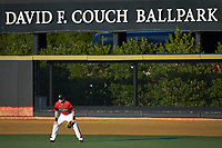 Louisville Cardinals right fielder Ethan Stringer (17) on defense against the Wake Forest Demon Deacons at David F. Couch Ballpark on March 17, 2018 in  Winston-Salem, North Carolina.  The Cardinals defeated the Demon Deacons 11-6.  (Brian Westerholt/Four Seam Images)