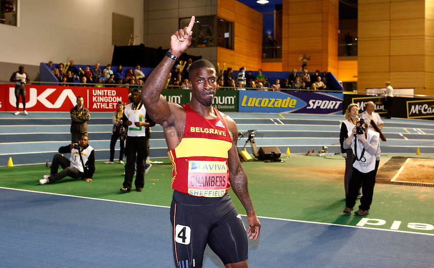 Photo: Richard Lane/Richard Lane Photography. Aviva World Trials & UK Championships. 13/02/2010. Dwain Chambers celebrates winning the men's 60m final.