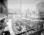 Frederick Stone negative. YMCA in Waterbury, CT., shows view of taking down old building, Temple Hall 1924.