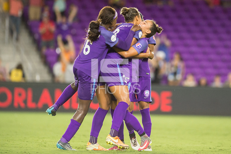 Orlando, FL - Saturday July 15, 2017: Orlando Pride celebrate a goal during a regular season National Women's Soccer League (NWSL) match between the Orlando Pride and FC Kansas City at Orlando City Stadium.