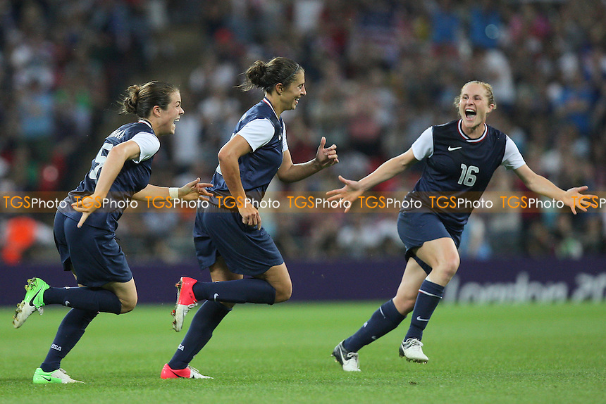 Carli LLOYD of USA celebrates scoring the second and winning goal - USA Women vs Japan Women - Womens Olympic Football Tournament London 2012 Final at Wembley Stadium - 09/08/12 - MANDATORY CREDIT: Gavin Ellis/SHEKICKS/TGSPHOTO - Self billing applies where appropriate - 0845 094 6026 - contact@tgsphoto.co.uk - NO UNPAID USE.