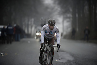 Dwars Door Vlaanderen 2013.Davide Appollonio (ITA) pushing it to get back into the peloton after a mechanical