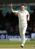 9th September 2017, Lords Cricket Ground, London, England; International test match series, third test, Day 3; England versus West Indies; England Bowler James Anderson celebrates taking the wicket of West Indies Roston Chase