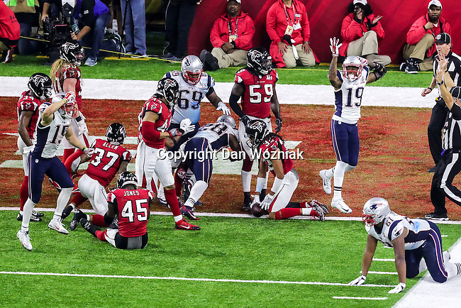 New England Patriots running back James White (28) in action during Super Bowl LI at the NRG Stadium in Houston, Texas.