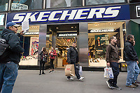 A Skechers store in Times Square in New York on Saturday, October 24, 2015. Skechers recently reported third-quarter sales and revenue that although higher still missed analysts' expectations causing its stock to drop 35%. (© Richard B. Levine)