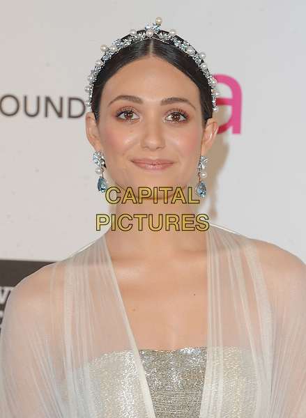 Emmy Rossum.The 21st Annual Elton John AIDS Foundation Academy Awards Viewing Party held at The City of West Hollywood Park in West Hollywood, California, USA..February 24th, 2013.oscars headshot portrait white sheer blue pearls earrings hairband silver            .CAP/DVS.©DVS/Capital Pictures.