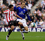 Sunderland's Kieran Richardson and Everton's Phil Neville. during the Premier League match at the Stadium of Light, Sunderland. Picture date 9th March 2008. Picture credit should read: Richard Lee/Sportimage