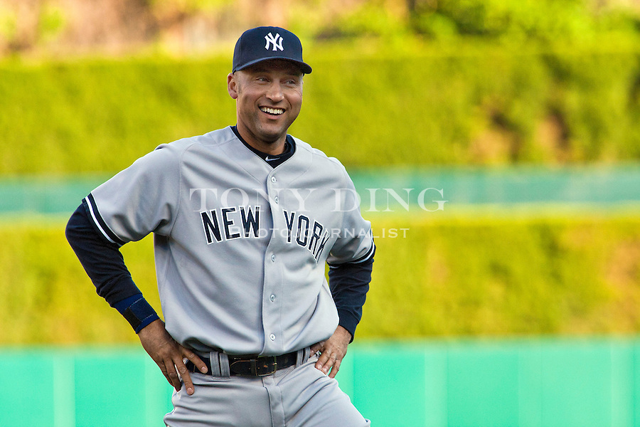 4 May 2011: New York Yankees shortstop Derek Jeter (2) laughs during warmups before the New York Yankees at Detroit Tigers Major League Baseball game at Comerica Park, in Detroit, Michigan. (Tony Ding/Icon SMI)