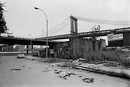 New York City, October 1975. Manhattan Bridge. Economic depression in NYC.