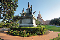 Confederate Soldiers Monument, 1903, by Pompeo Coppini, base designed by Frank Teich, in the grounds of the Texas State Capitol, containing the Texas Legislature and the Office of the Governor, designed in 1881 by Elijah E Myers and built 1882-88, Austin, Texas, USA. The monument depicts a statue of Confederate President Jefferson Davis surrounded by 4 Confederate soldiers representing Infantry, Cavalry, Artillery and Navy, and commemorates those who died in the Civil War, 1861-65. The inscription reads, 'Died for state rights guaranteed under the constitution. The people of the south, animated by the spirit of 1778, to preserve their rights, withdrew from the Federal compact in 1861. The north resorted to coercion. The South, against overwhelming numbers and resources, fought until exhausted.' Picture by Manuel Cohen