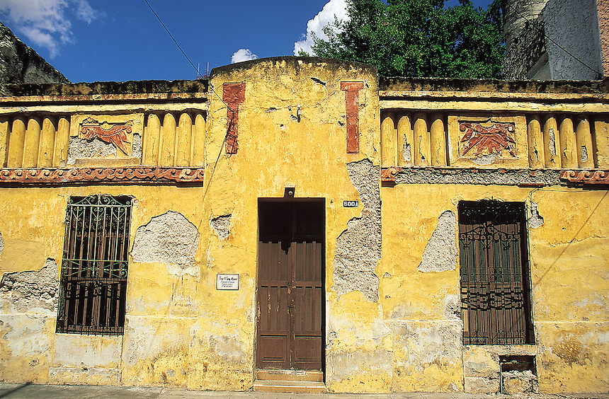 A weathered house on the streets of Merida, Yucatan, Mexico 07-02