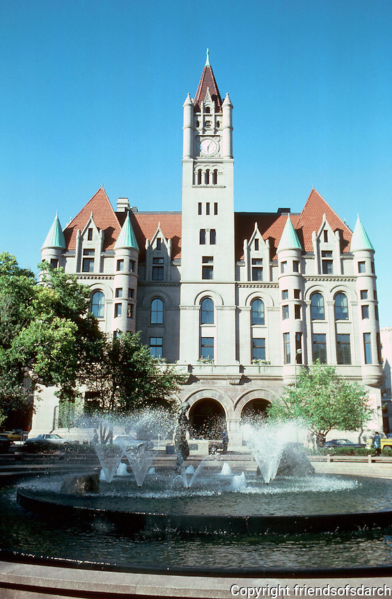 St Paul:  Old Federal Courts Building, 1894-1904.  Architect Willowby J. Edbrooke. Now Landmark Center after renovation in 1978 and listed on NHRP.   Richardsonian Romanesque style  with turrets, gables and dormers, clock tower.  Photo '97.