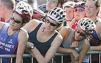 11 AUG 2007 - NOTTINGHAM, UK - Competitors wait to tag their teams last swimmers - British Club Relay Triathlon Championships. (PHOTO (C) NIGEL FARROW)