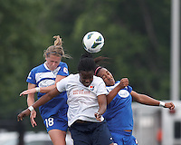 Boston Breakers defender Maddy Evans (18), Sky Blue FC forward Danesha Adams (9), and Boston Breakers midfielder Mariah Noguiera (20) battle for head ball.  In a National Women's Soccer League Elite (NWSL) match, Sky Blue FC (white) defeated the Boston Breakers (blue), 3-2, at Dilboy Stadium on June 16, 2013.