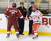 Ryan Grimshaw (Harvard - 6), Tim Benedetto, Kevin Shea, Chris Connolly (BU - 12) - The Boston University Terriers defeated the Harvard University Crimson 3-1 in the opening round of the 2012 Beanpot on Monday, February 6, 2012, at TD Garden in Boston, Massachusetts.