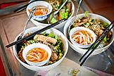 Vietnam, Ho Chi Minh Food Market, Three Bowls of Pho Soup