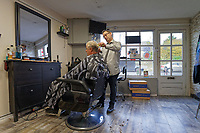Pictured: Bryan Young has his hair cut at Barbers 72 in Cowbridge, Wales, UK. Wednesday 06 November 2019<br /> Re: People in Cowbridge share their views after the Vale of Glamorgan MP Alun Cairns announced that he has resigned from his role as a Secretary for Wales.