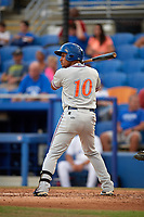St. Lucie Mets center fielder Enmanuel Zabala (10) at bat during a game against the Dunedin Blue Jays on April 20, 2017 at Florida Auto Exchange Stadium in Dunedin, Florida.  Dunedin defeated St. Lucie 6-4.  (Mike Janes/Four Seam Images)