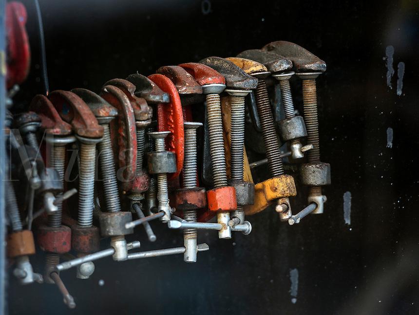Set of old vise in a workshop.