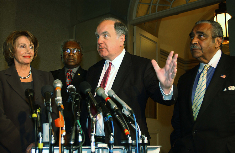 11/9/04.HOUSE DEMOCRATS--House Minority Leader Nancy Pelosi, D-Calif., Democratic Caucus Vice Chairman James E. Clyburn, D-S.C., House Budget ranking Democrat John M. Spratt Jr., D-S.C., and House Ways and Means ranking Democrat Charles B. Rangel, D-N.Y., during a news conference after a closed-door meeting of House Democrats..CONGRESSIONAL QUARTERLY PHOTO BY SCOTT J. FERRELL