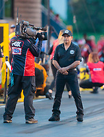May 31, 2019; Joliet, IL, USA; NHRA top fuel driver Mike Salinas during qualifying for the Route 66 Nationals at Route 66 Raceway. Mandatory Credit: Mark J. Rebilas-USA TODAY Sports
