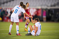 Jacksonville, FL - Thursday, April 05, 2018:  Mallory Pugh, Alex Morgan during a friendly match between USA and Mexico at EverBank Stadium.  USA defeated Mexico 4-1.