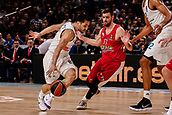 9th February 2018, Wiznik Centre, Madrid, Spain; Euroleague Basketball, Real Madrid versus Olympiacos Piraeus; Facundo Campazzo (Real Madrid Baloncesto) brings the ball foward agains Evangelos Mantzaris (OLYMPIACOS BC)