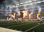 Fireworks light up the stadium before the Thanksgiving Day game between the Miami Dolphins and the Dallas Cowboys at the Cowboys Stadium in Arlington, Texas. Dallas defeats Miami 20 to 19....
