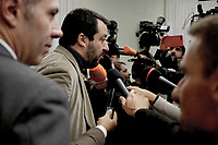 Roma,13 Novembre 2019<br /> Matteo Salvini in Conferenza stampa sulla manovra economica alla Sala Salvadori