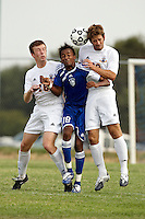 SAN ANTONIO , TX - SEPTEMBER 3, 2009: The Our Lady of the Lake University Saints vs. The St. Mary's University Rattlers Men's Soccer at the St. Mary's University Soccer Field. (Photo by Jeff Huehn)