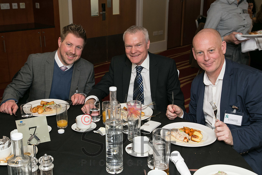 Ready for the NCBC Lunch are left to right Lloyd Rumbold of Belvoir Lettings, Roger Pratt of Hopkins Solicitors and Ian Roberts of SLR Consulting