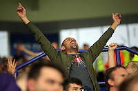 Pictured: Swansea supporters Saturday 27 August 2016<br />Re: Swansea City FC v Leicester City FC Premier League game at the King Power Stadium, Leicester, England, UK