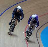 25th January 2020; National Cycling Centre, Manchester, Lancashire, England; HSBC British Cycling Track Championships; Men's Sprint semi final heat 2 Alex Spratt (L) comes from behind to take the forst race against  Ali Fielding (R)
