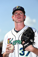 Cedar Rapids Kernels pitcher Ryan Eades (37) poses for a photo before a game against the Quad Cities River Bandits on August 19, 2014 at Perfect Game Field at Veterans Memorial Stadium in Cedar Rapids, Iowa.  Cedar Rapids defeated Quad Cities 5-3.  (Mike Janes/Four Seam Images)